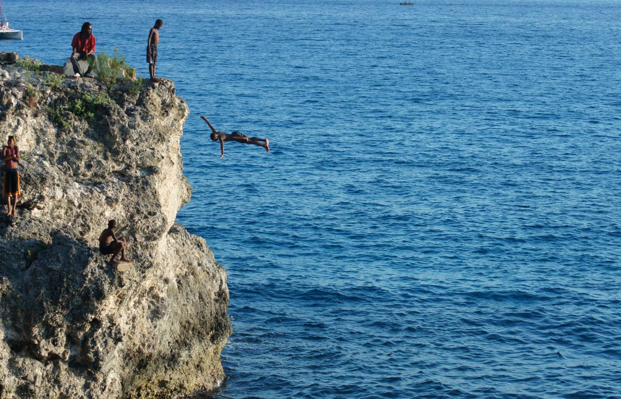 cliff divers in Negril, Jamaica