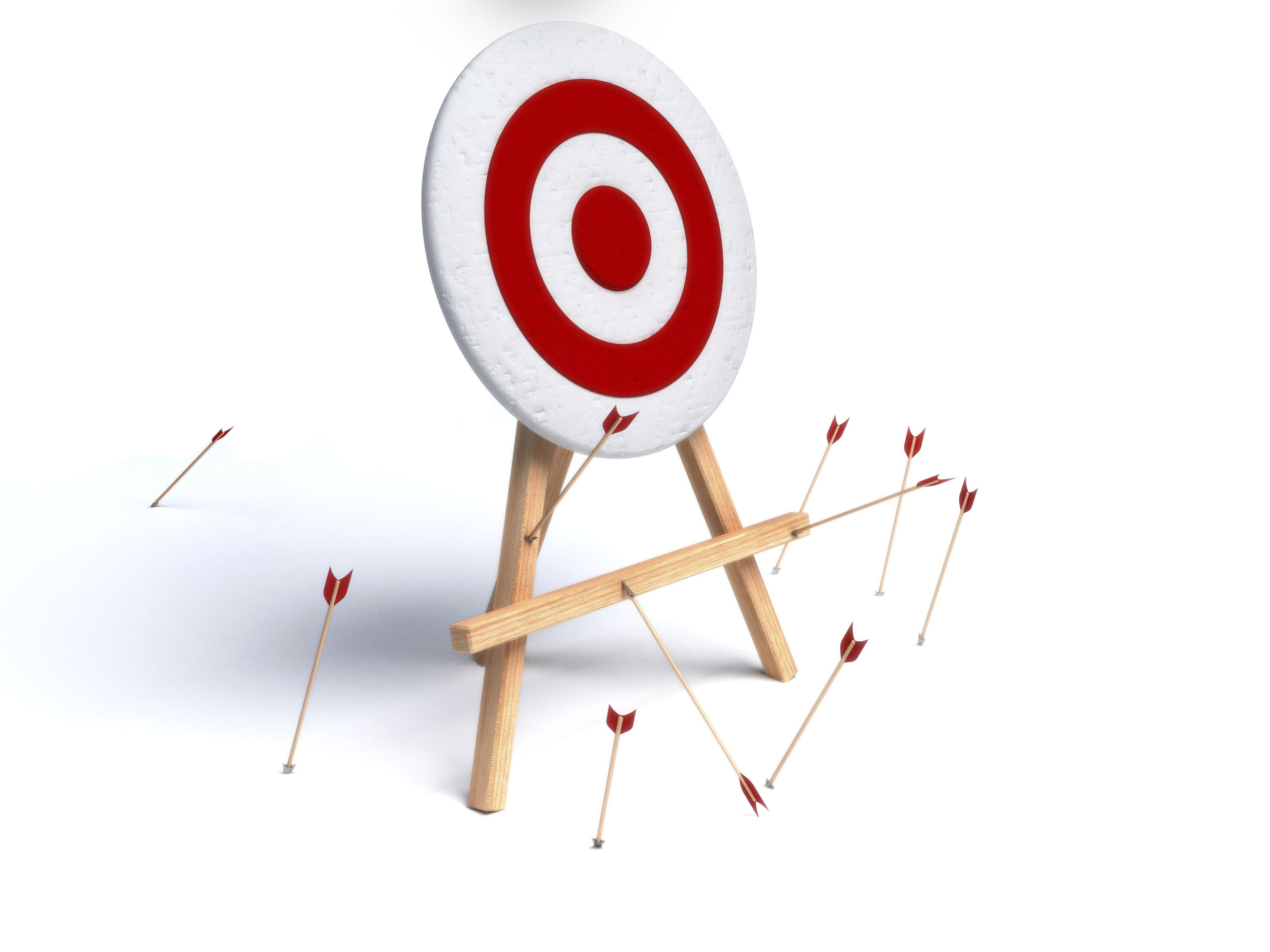 white target with arrows missing the target, symbolizing failure or falling short of the mark