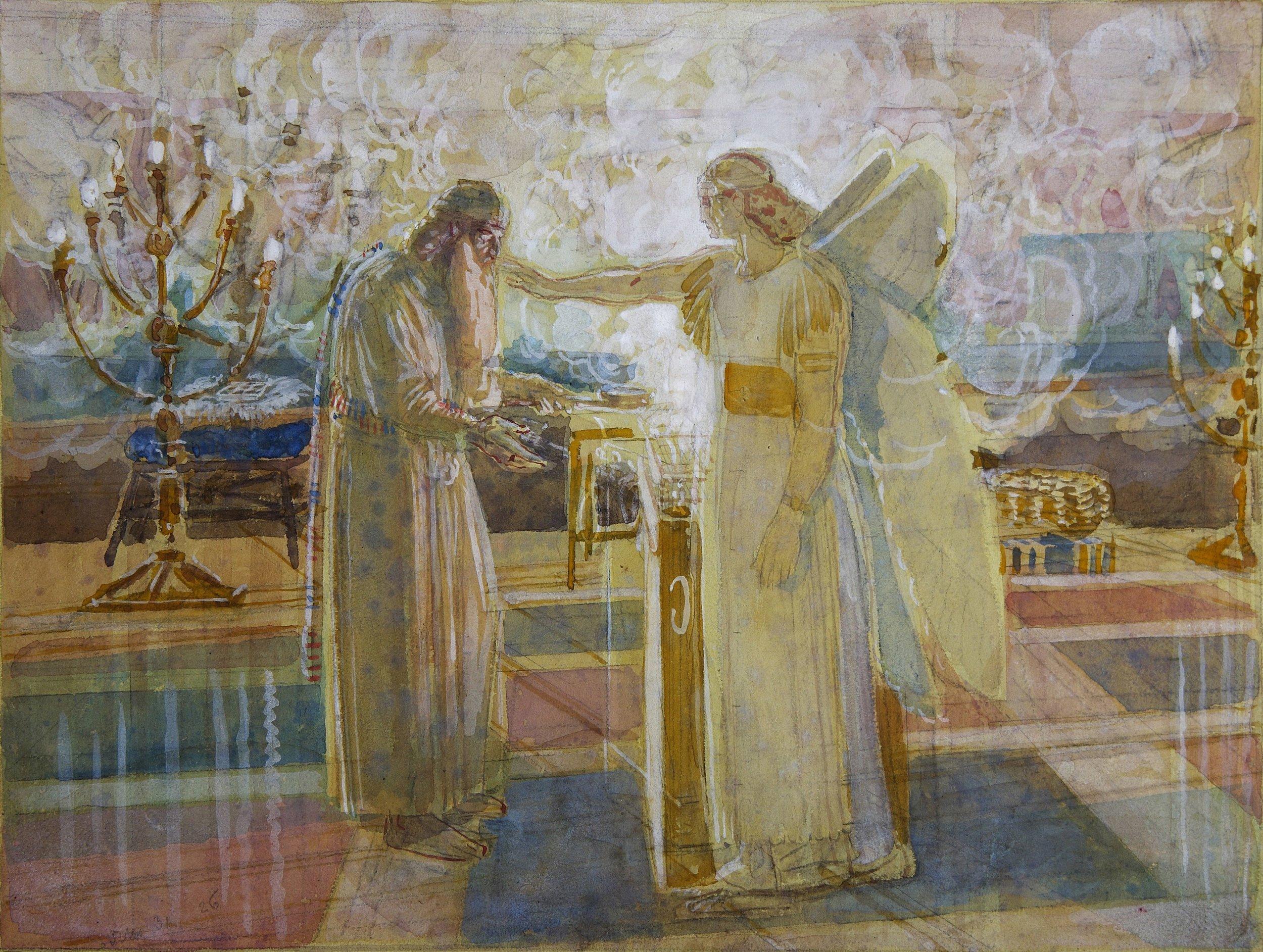 an angel, the archangel Gabriel, strikes Zechariah dumb in the temple as depicted in Luke 1