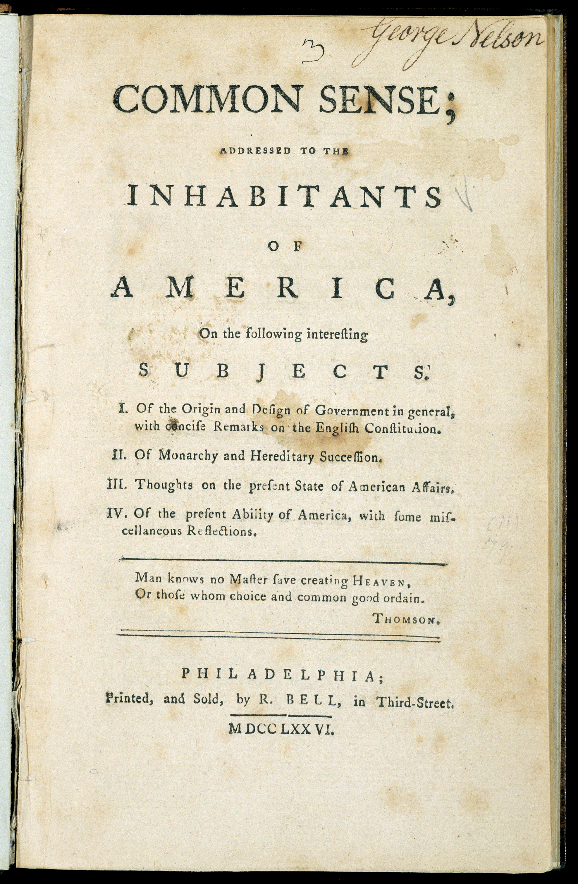 Thomas Paine's Common Sense title page on aged paper