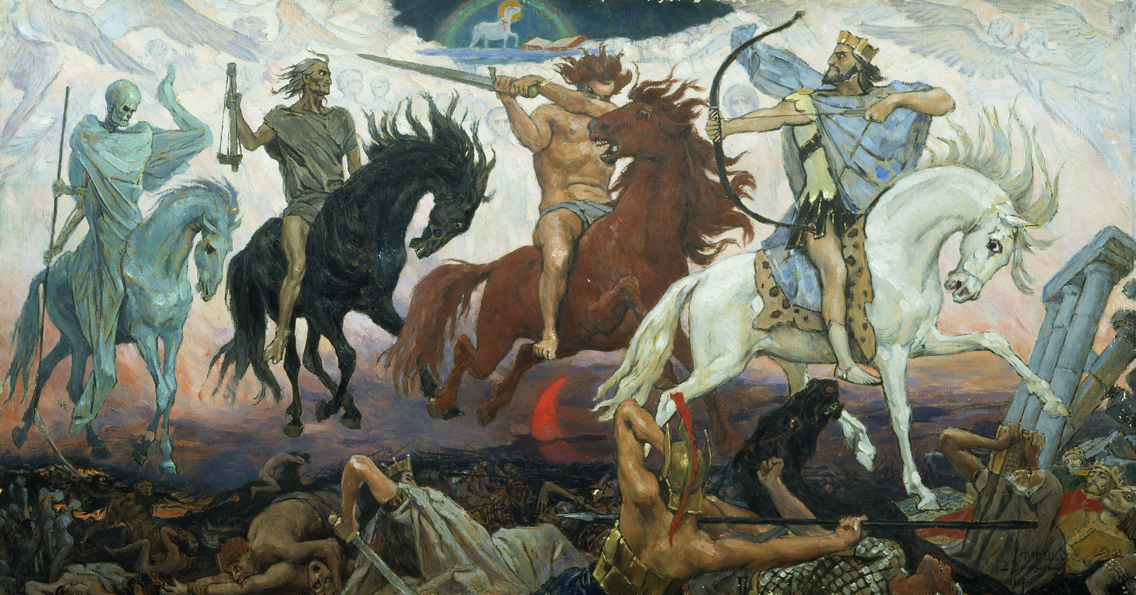 Apocalypse by Vasnetsov with the four horsemen of Revelation displayed