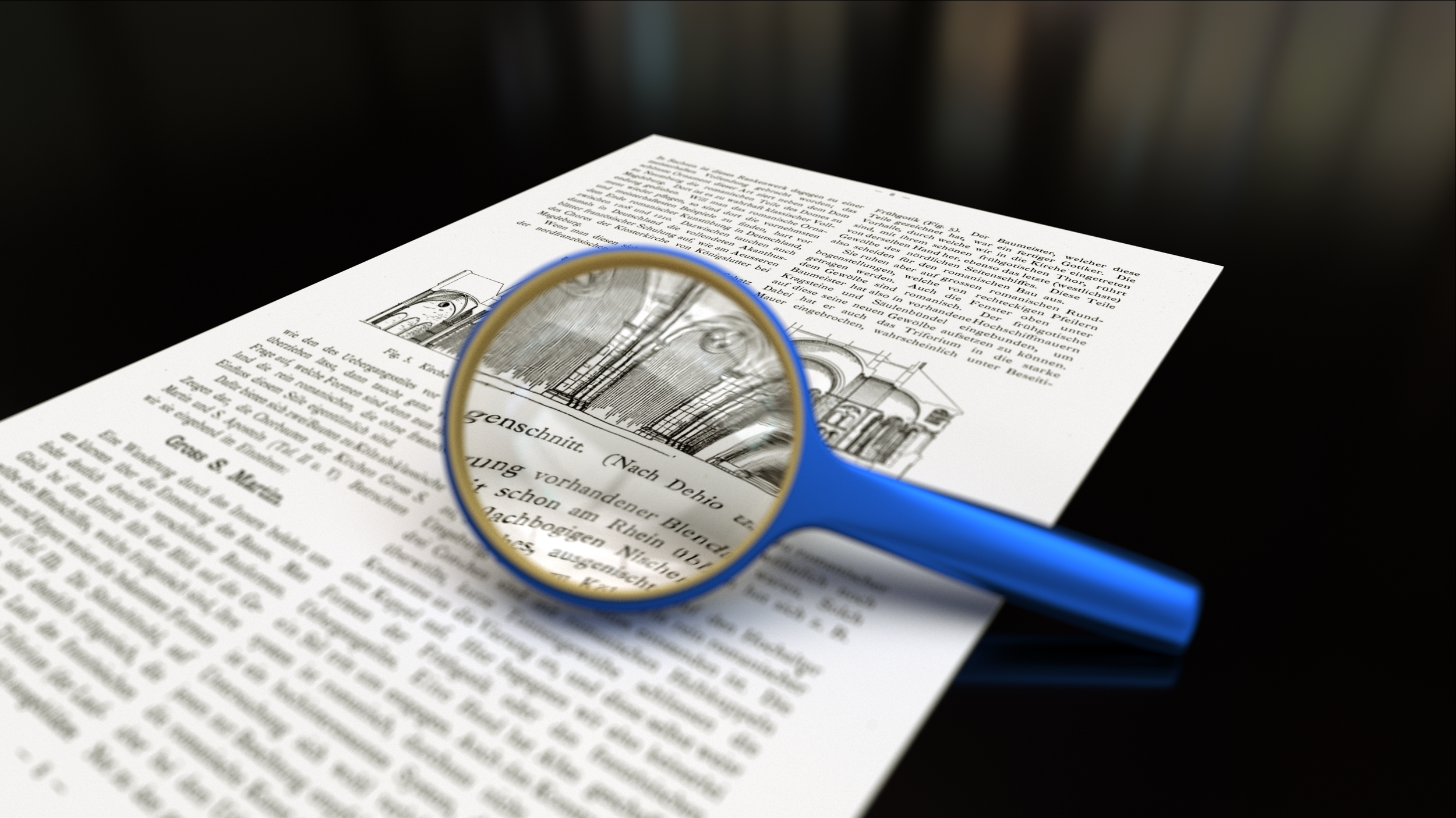 magnifying glass on a white sheet of paper where it's making the text and image larger