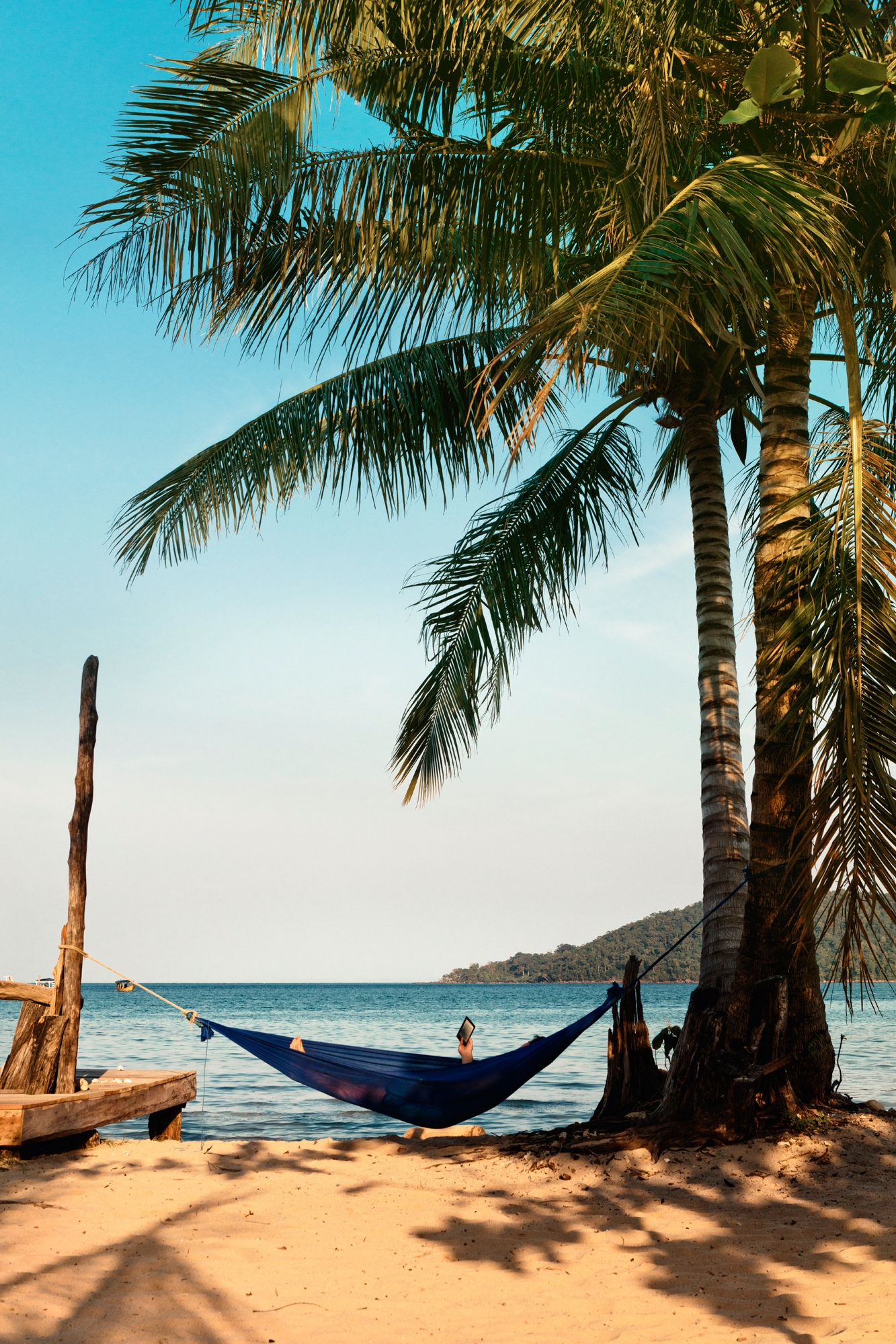 Relaxing in a hammock with a book at the beach.