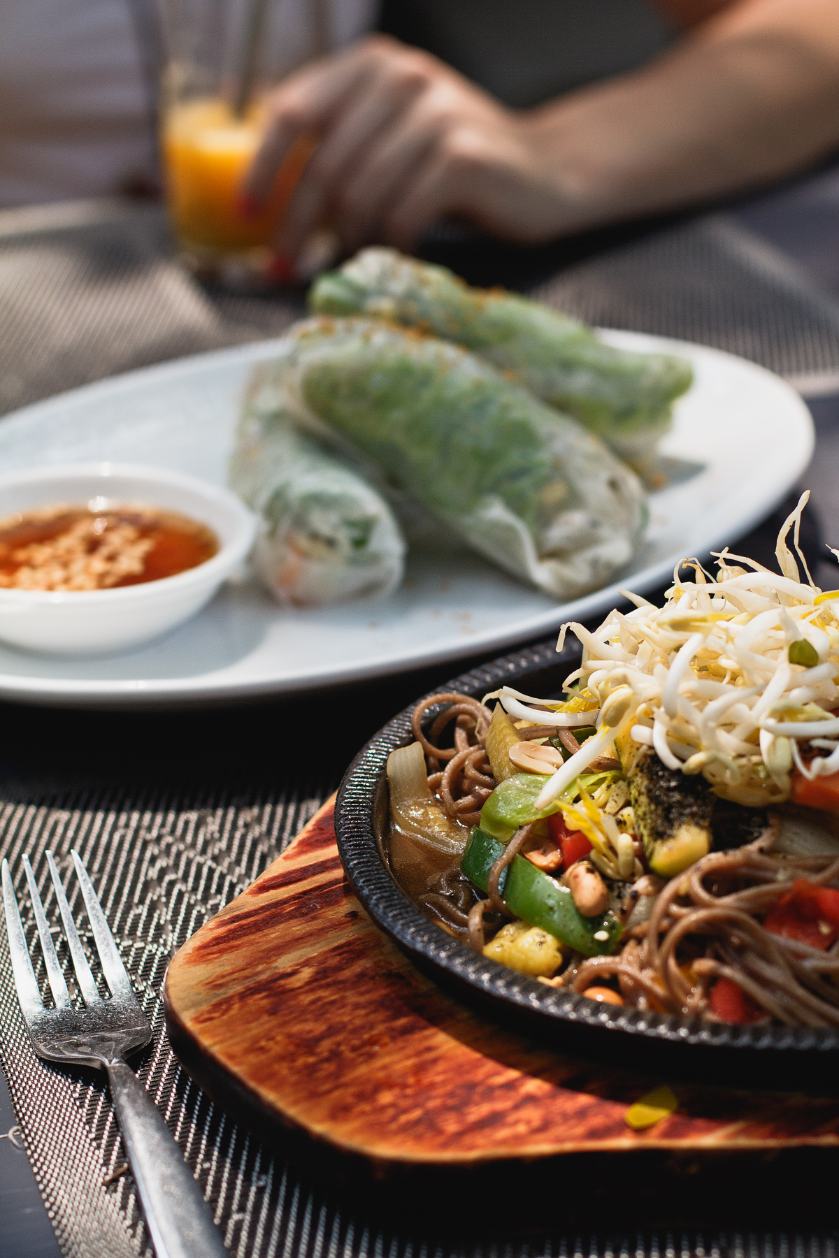 Fresh springrolls and a version of Pad Thai with soba noodles