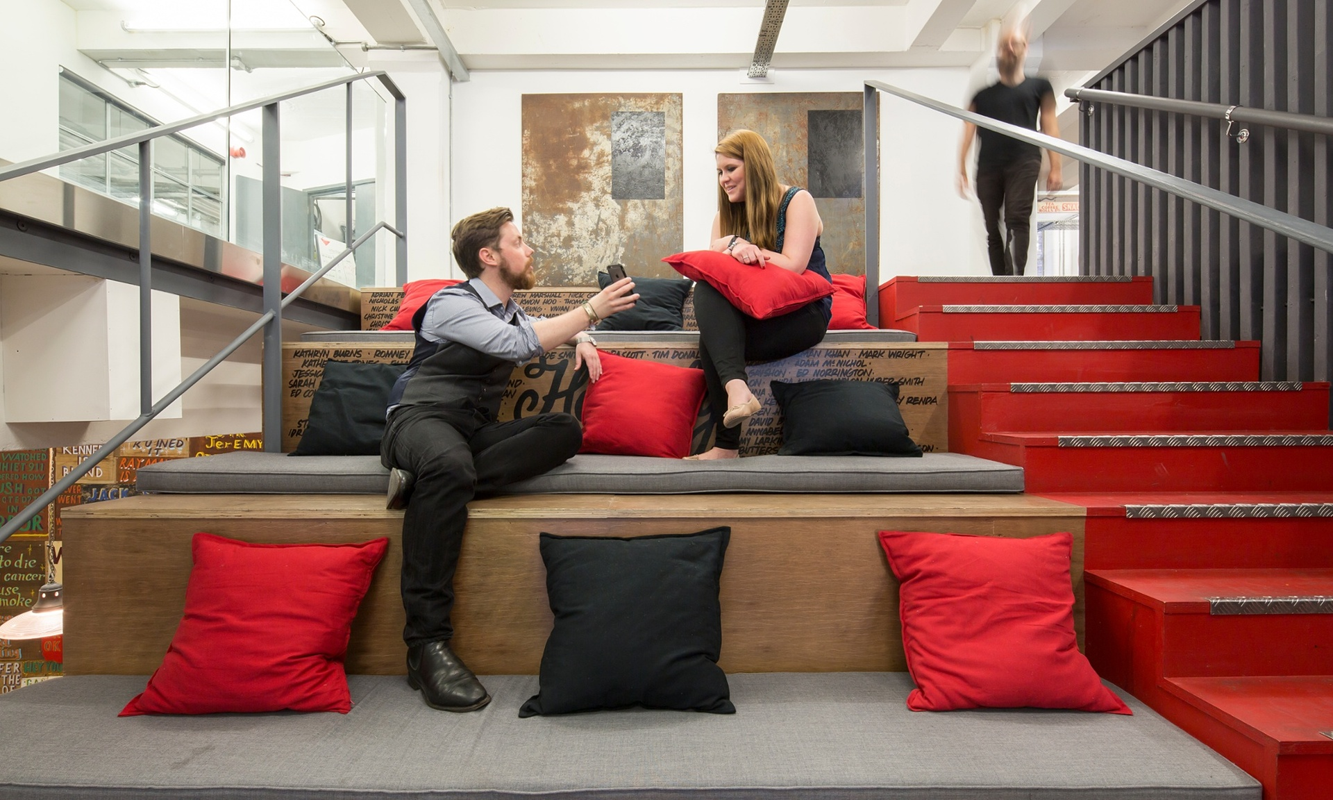 Sit and stair: Albion has got creative with its meeting spaces.