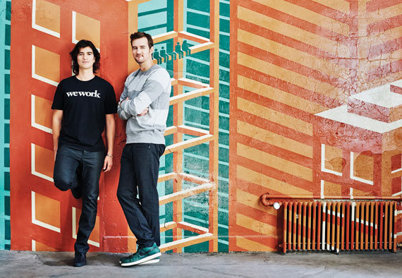 Company co-founders Adam Neumann, left, and Miguel McKelvey launched WeWork in 2010 and now have 22 NYC locations.