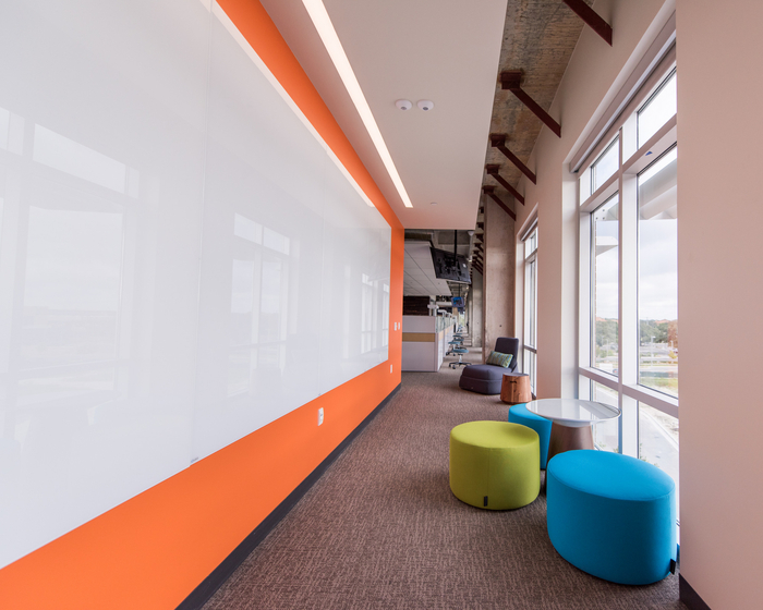 Employees were the focus of the office design for HomeAway's Austin workspace.  Hosu Lounges  are available for staff who need a more relaxed posture and retreat from their desk.