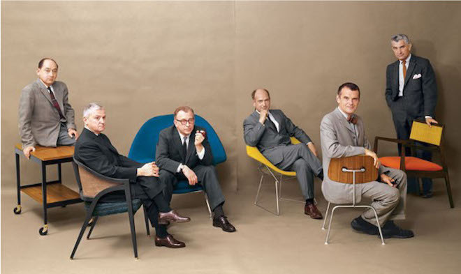 A July, 1961 photo in Playboy featuring, from left to right, George Nelson, Edward Wormley, Eero Saarinen, Harry Bertoia, Charles Eames and Jens Risom