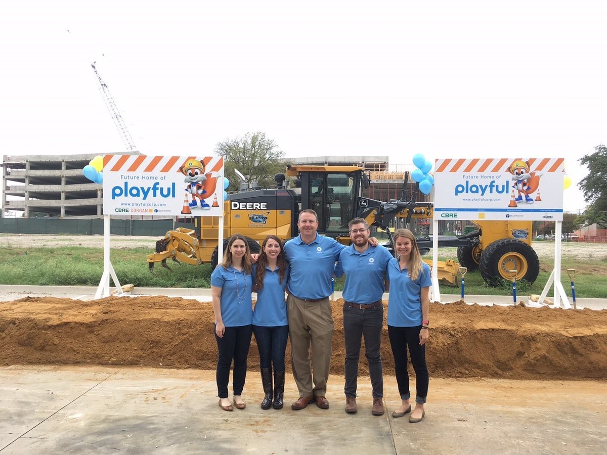 CorganInc  Congrats to @playfulcorp on the #groundbreaking of your new headquarters! Proud to partner with you on this project! @CBREDFW @HillWilkinson pic.twitter.com/OwuiQdE3Qq  Aug 28, 2017, 10:15 AM