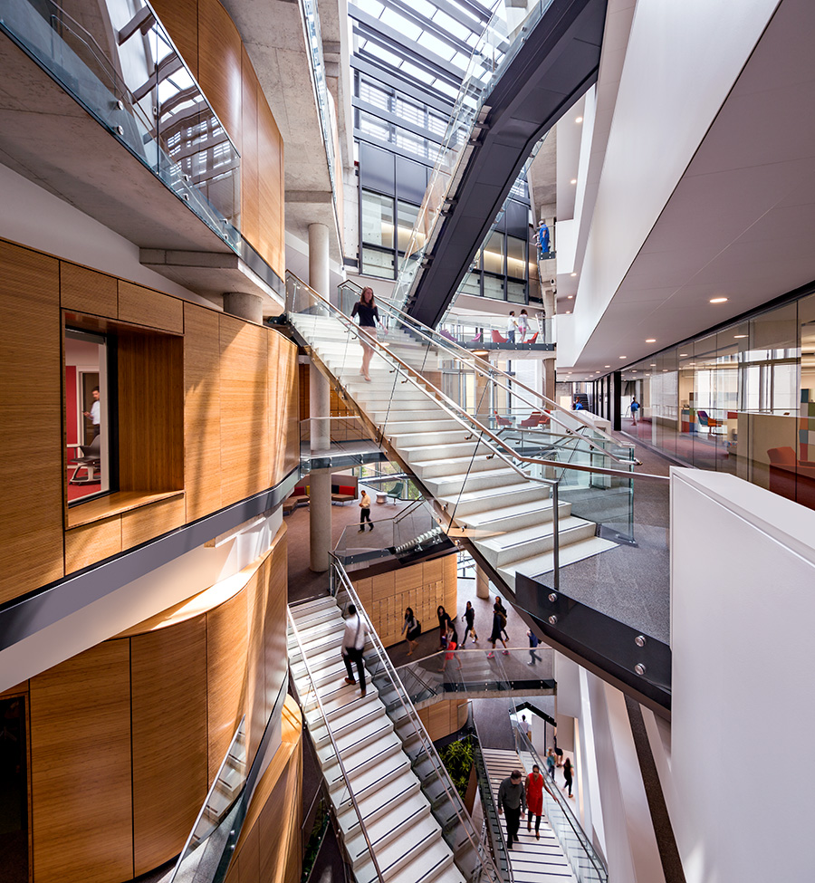 Payette's Milken Institute School of Public Health at George Washington University in Washington, D.C. The building, which is 161,000 square feet and LEED Platinum, uses 64% less energy than the norm. 87% of survey respondents say the building reinforces a healthy lifestyle.   Courtesy Payette