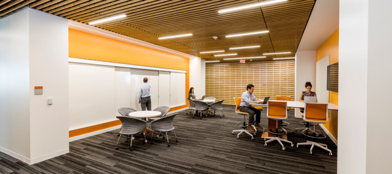 In the Capital One's Plano, Texas facility, there are a variety of workspaces for collaborative work, with a choice of seating and meeting space options. Photo by Parscale.