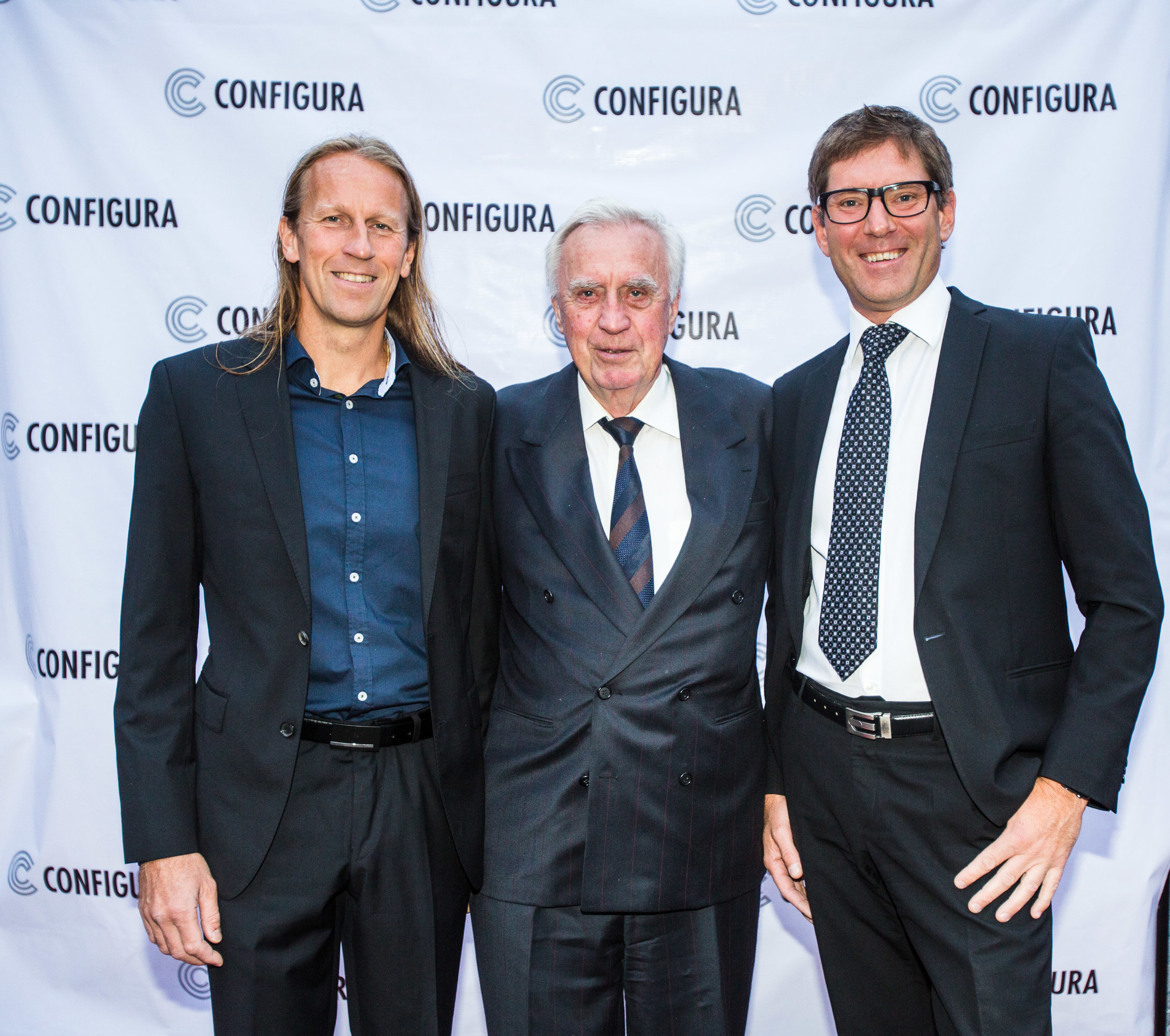 Configura Founders Göran Rydqvist, Sune Rydqvist and Johan Lyreborn at Configura's 25th anniversary celebration in Sweden in 2015