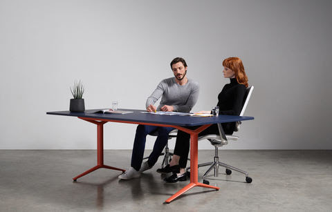 One of Boss Design's static meeting tables complete with a vibrant frame color from its new ACDC line-up.