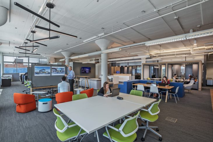 The Commons at BHDP, is a flexible space with moveable versatile furniture that adapts to all employees' needs. The open space is multifunctional for hosting agile employees and accommodating company meetings and multiple technologies. Photo courtesy of BHDP.