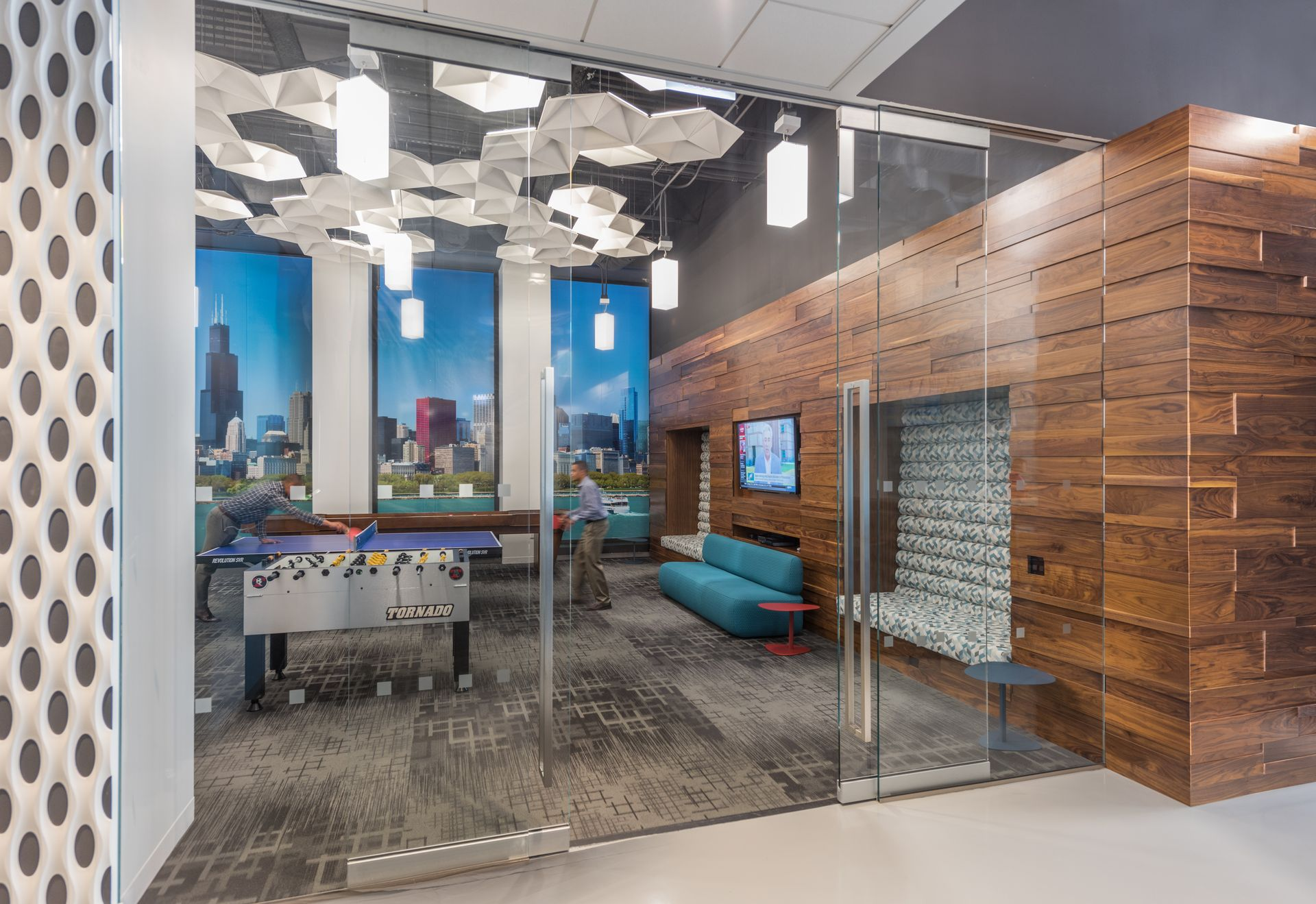 The game room at 222 Riverside in Chicago. Commercial real estate services and investment firm CBRE predicts 59.7 million square feet of office space will open before next year, which would be the largest annual addition since 2008.  James Steinkamp Photography
