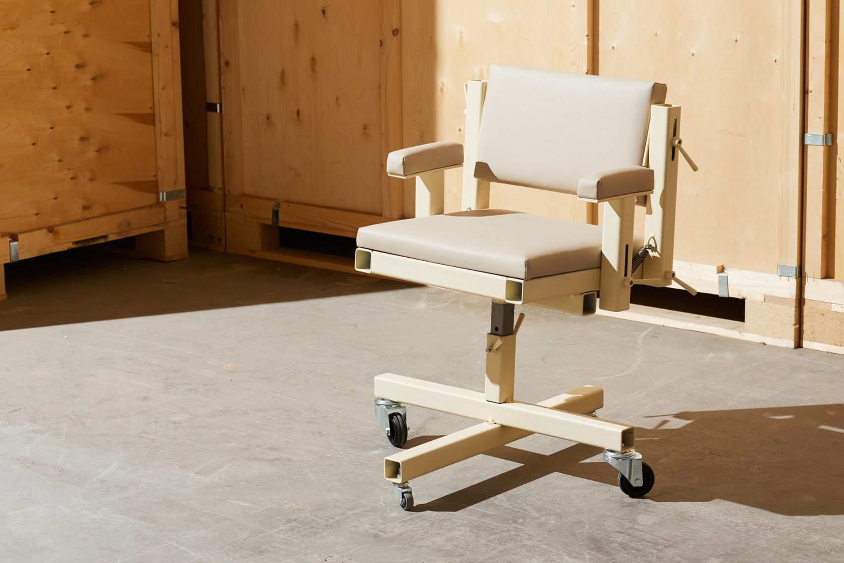 The Executive Chair pairs leather cushions with a hollow-section steel frame