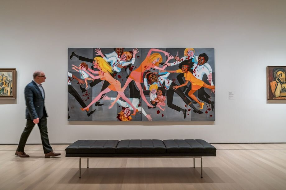 Faith Ringgold's  American People Series #20: Die  is hung in a gallery with abstract early 20th-century paintings.