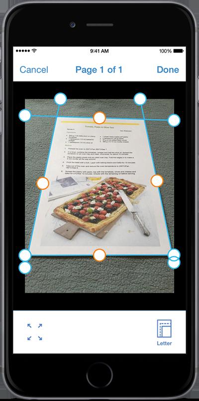 Immagine d'esempio dell'applicazione. In particolare le funzioni di ritaglio ed uniformazione della foto.