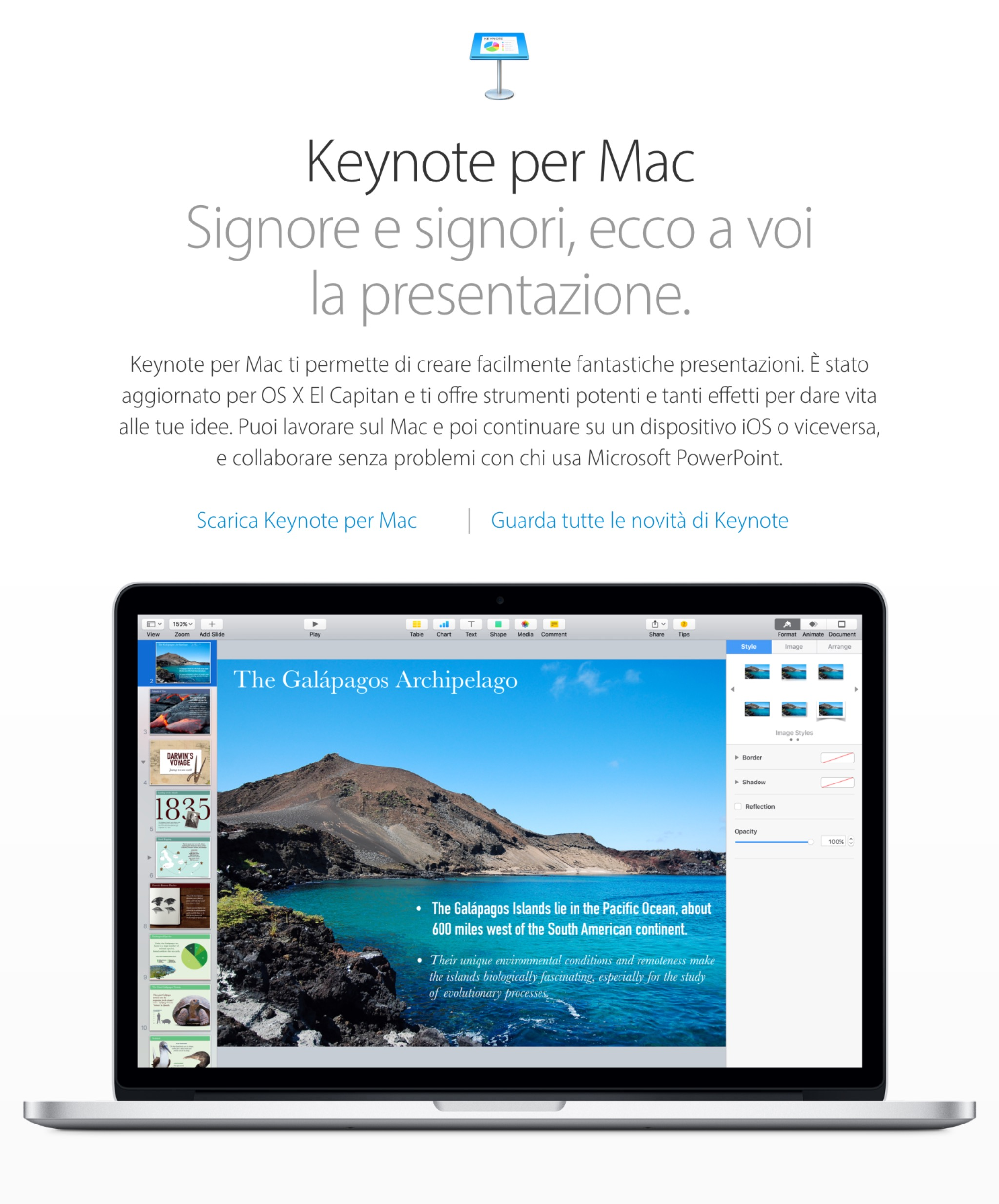 Screenshot della pagina introduttiva di Apple per Keynote