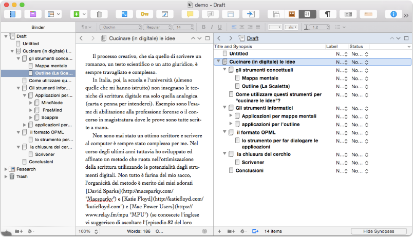 il file OPML creato in MindNode importato all'interno di Scrivener