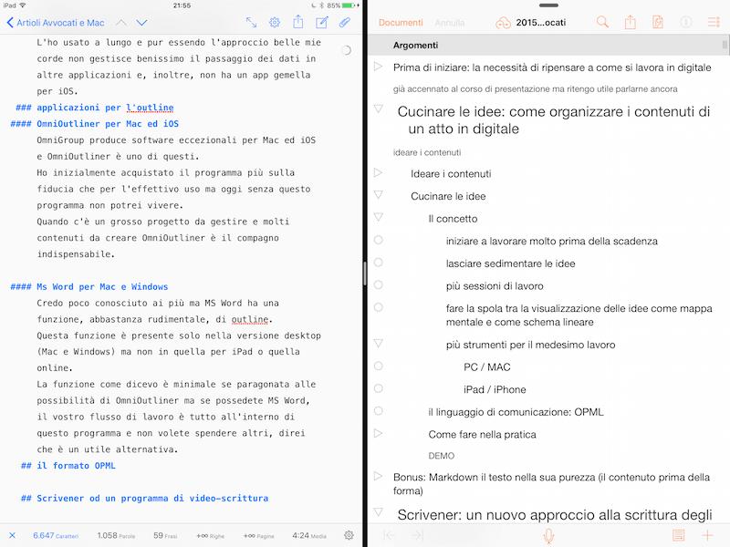 Split View in iOS sulla sinistra Ulysses e sulla destra OmniOutliner