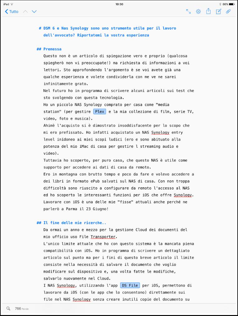 l'immagine dell'articolo in lavorazione all'interno di Ulysses per iOS