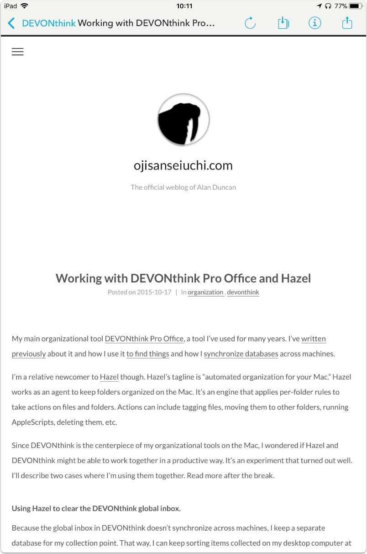 DEVONthink to Go: visualizzazione pagina web