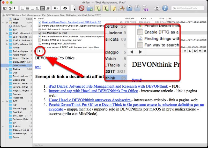 DEVONthink Pro Office: navigazione avanti ed indietro tra i documenti collegati