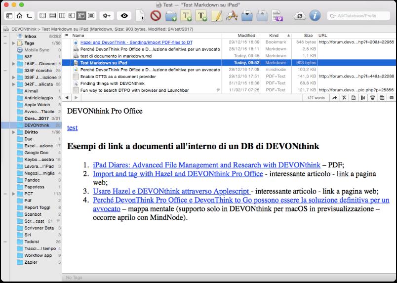 DEVONthink Pro Office: visualizzazione .md con link