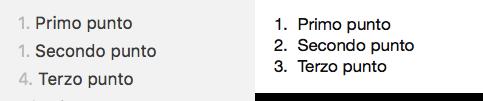 Esempio di elenco numerato in markdown (a sinistra) e sua visualizzazione a destra