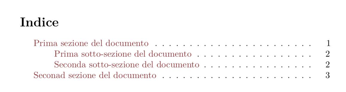 Esempio di indice creato da LaTeX