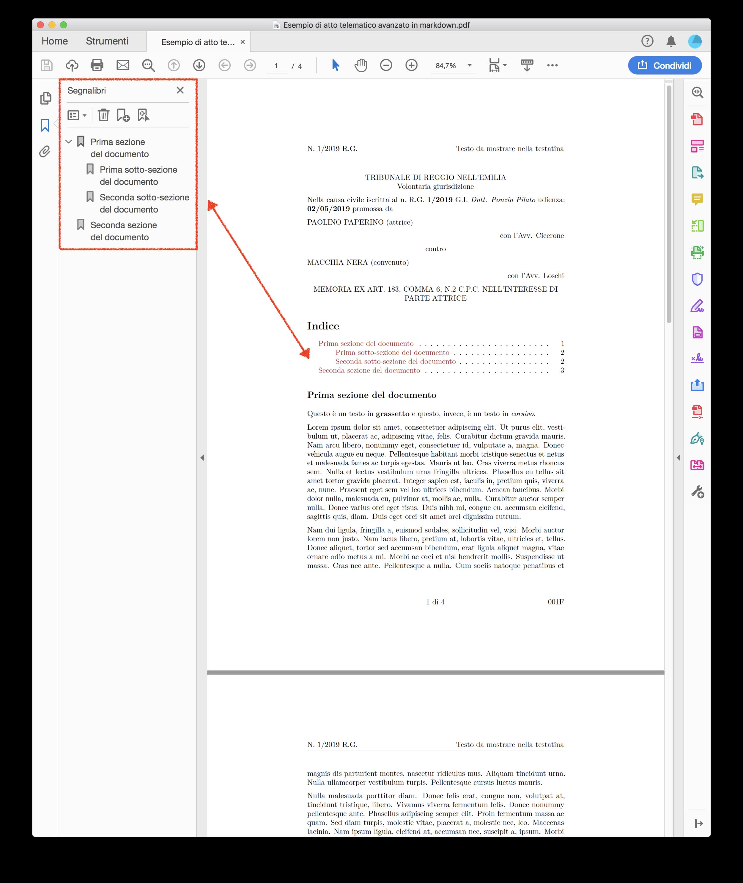 Esempio di indice / elenco segnalibri creato in automatico