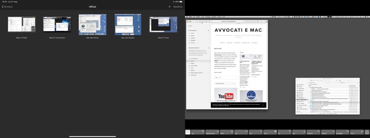 A sinistra i vari schermi virtuali ed a destro lo schermo del mio iMac 27 pollici