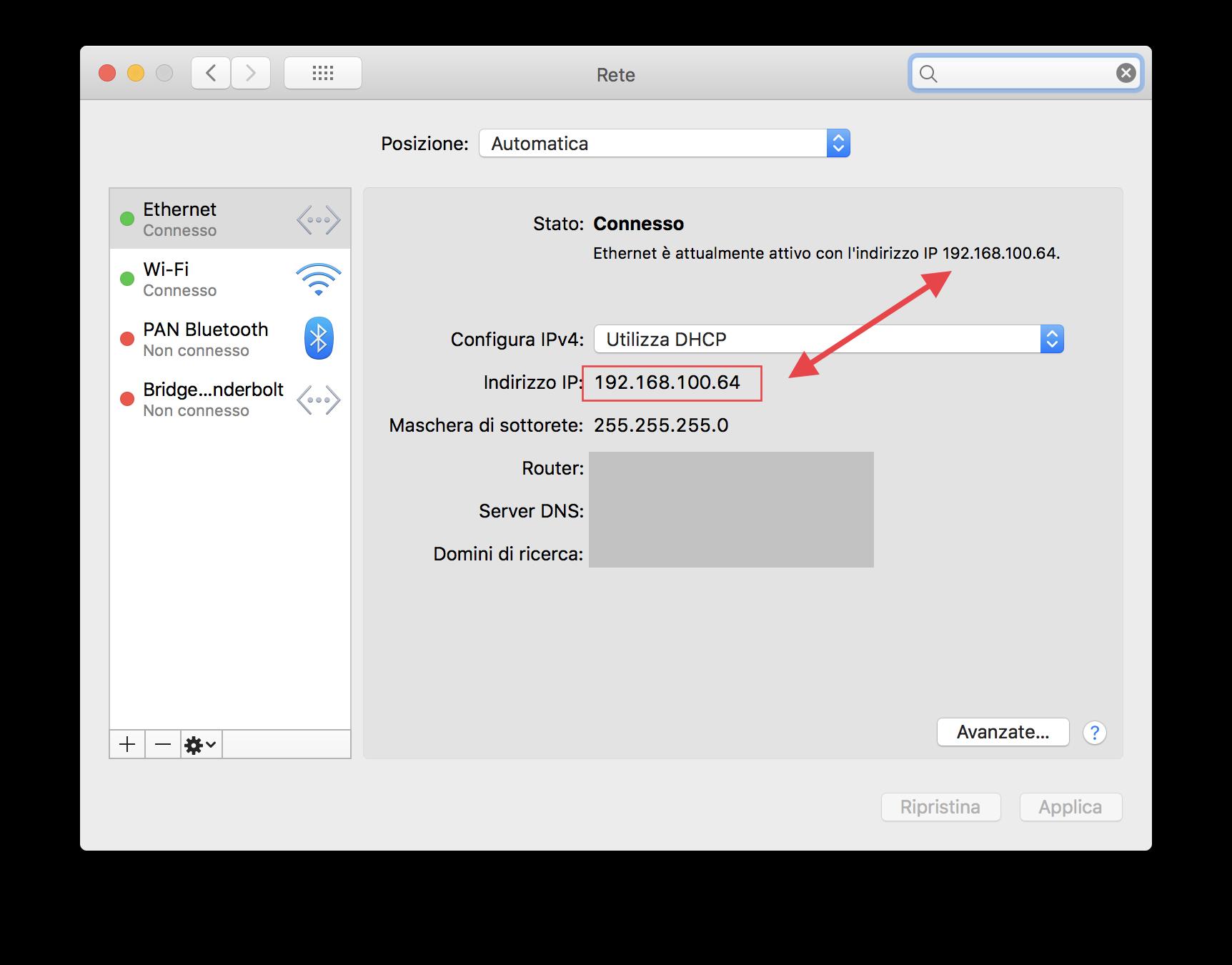 Preferenze di sistema: indirizzo IP del Mac