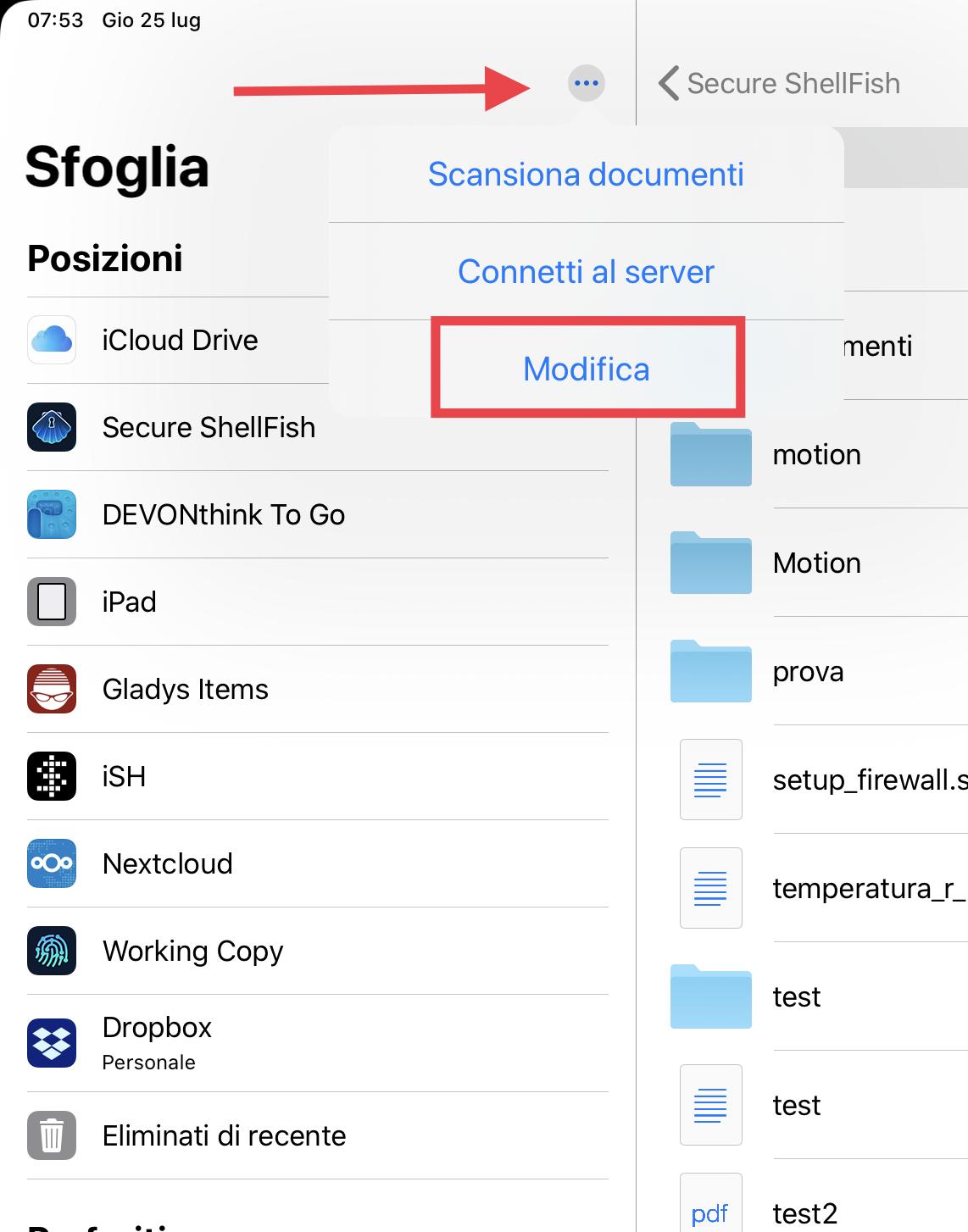 Attivazione di un nuovo document provider in File