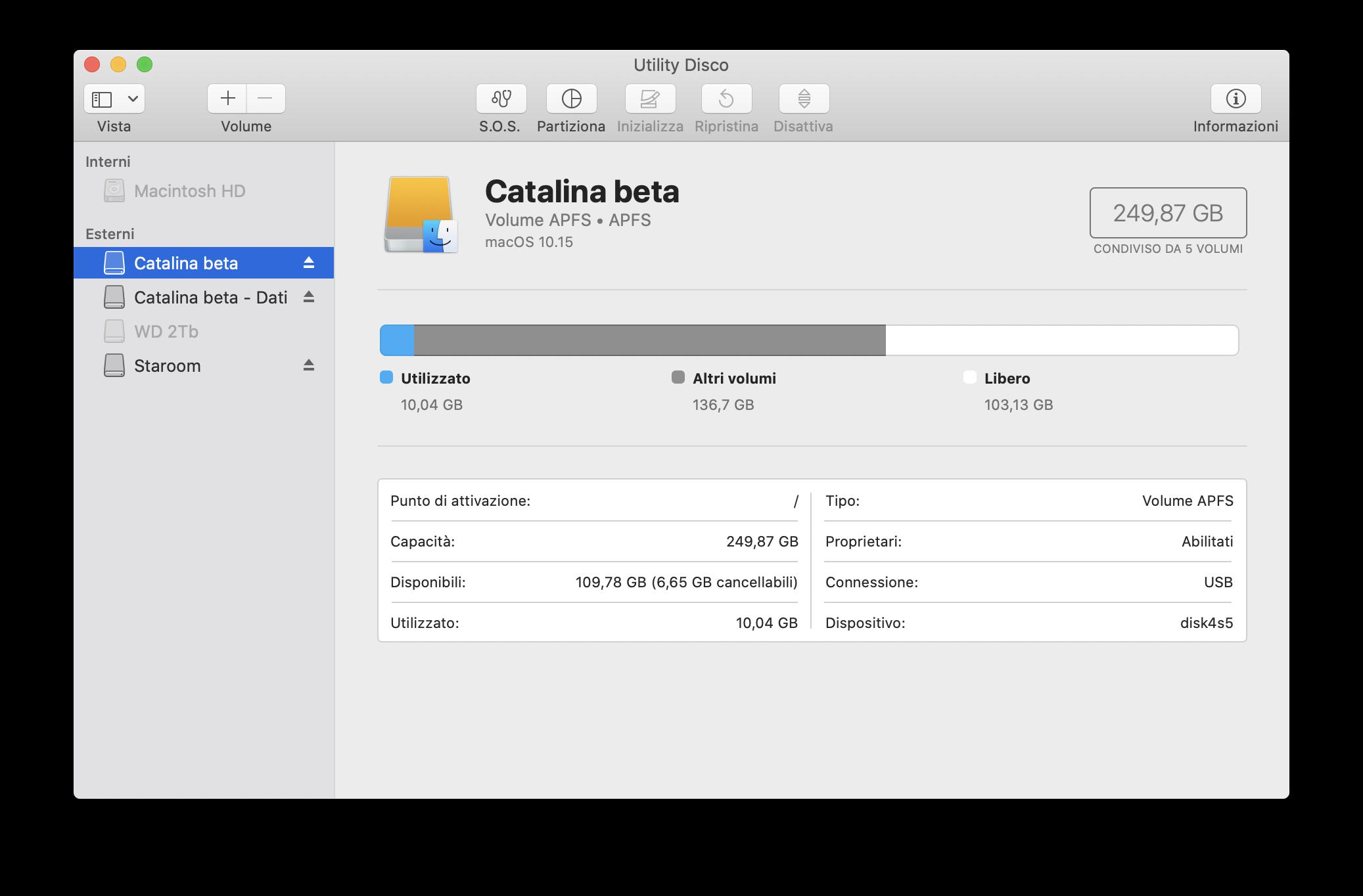 APFS e struttura dati partizioni di macOS Catalina