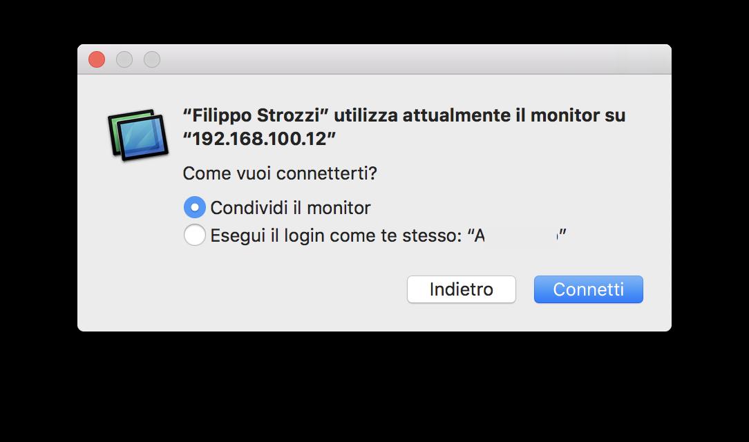 Esempio di collegamento di due utenti contemporaneamente allo stesso Mac