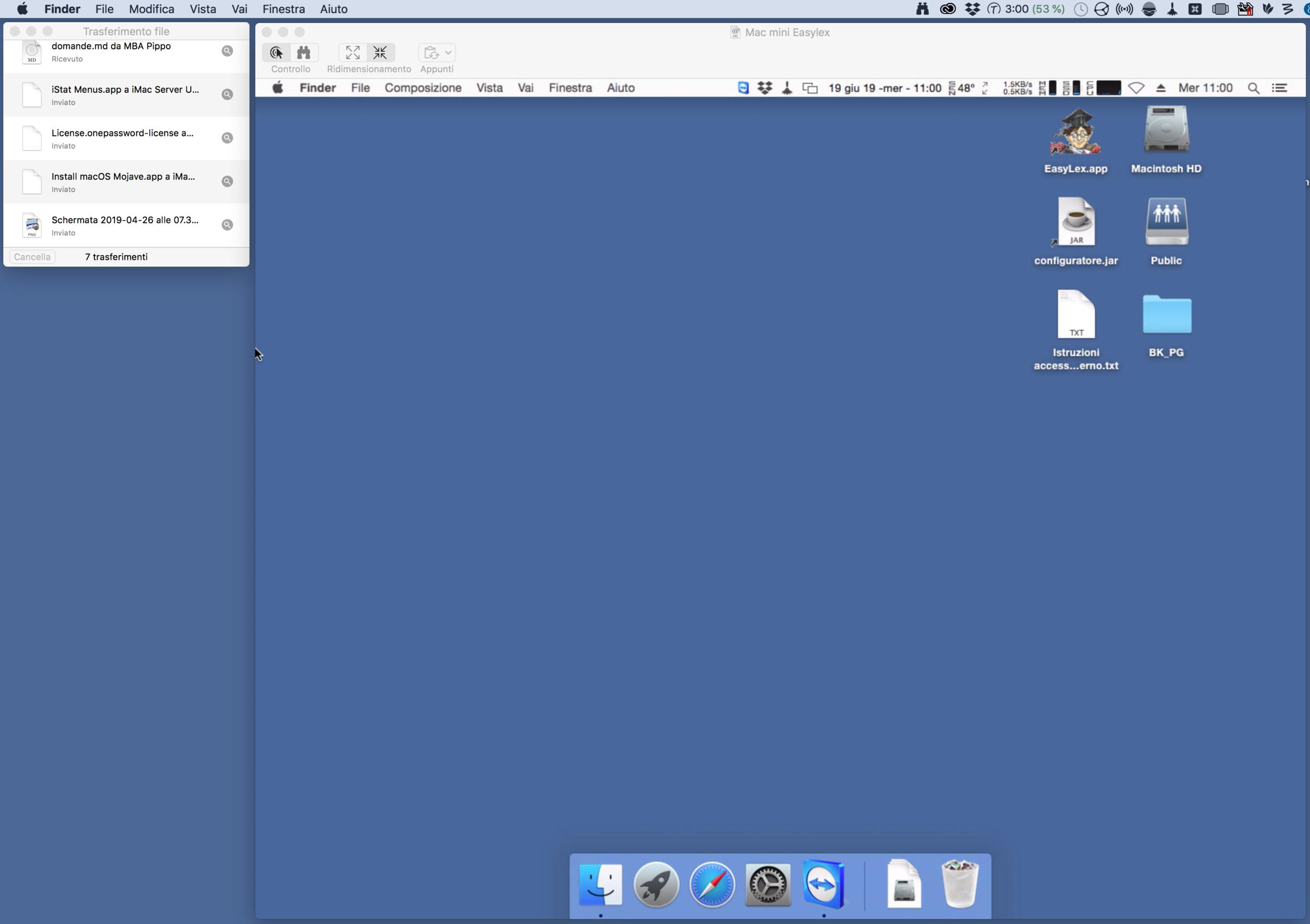 Esempio di scrivania remota del Mac