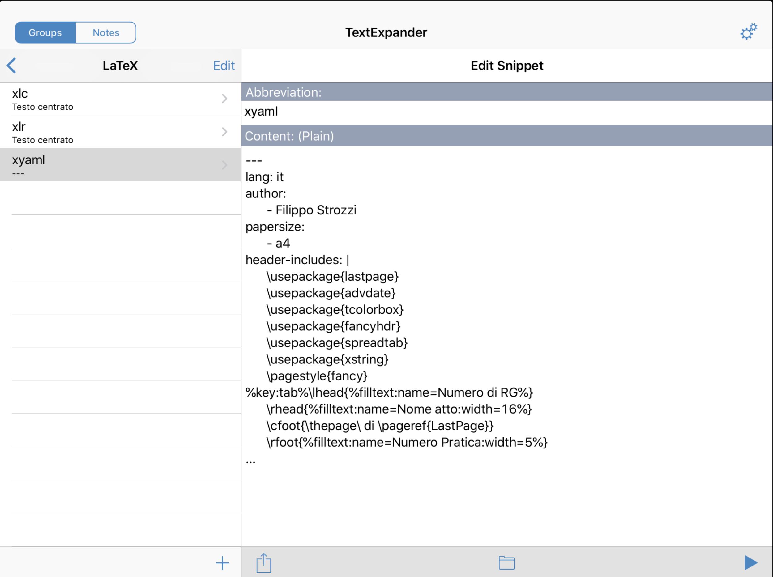 Lo snippet di TextExpander per creare l'intestazione YAML