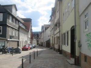 One of the newer side streets in Marburg; not cobblestone, but stone brick nonetheless