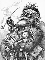 """The image that inspired the modern Santa, illustrated by Thomas Nast for the poem """"The Night Before Christmas"""" by Clement Moore in  Harper's Weekly ."""