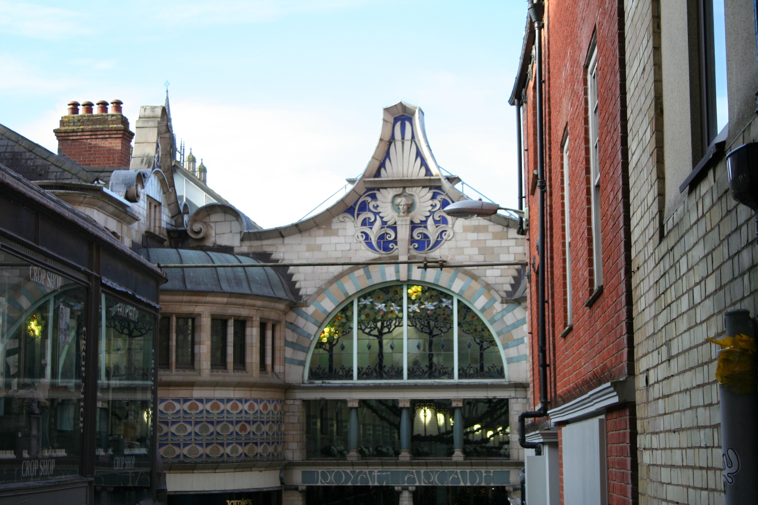 """The Royal Arcade in city center. The """"arcade"""" is filled with nice shops and restaurants and connects Norwich Market to Castle Mall, which lies underground beneath the castle."""