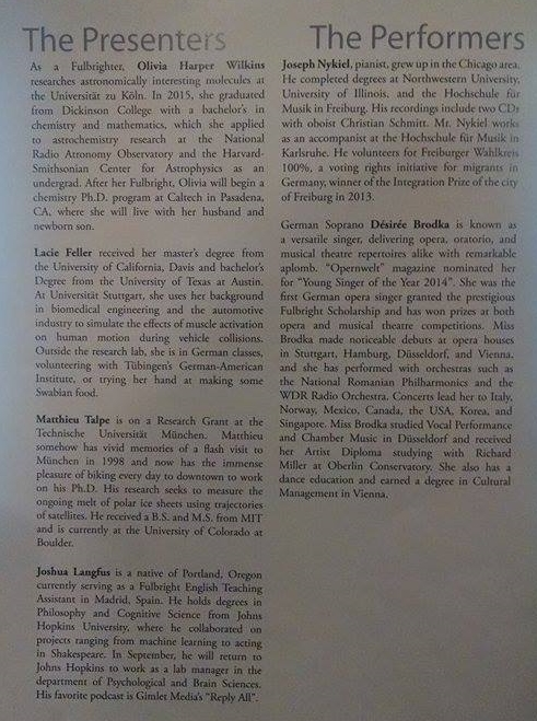 Back page of the Opening Ceremony program.