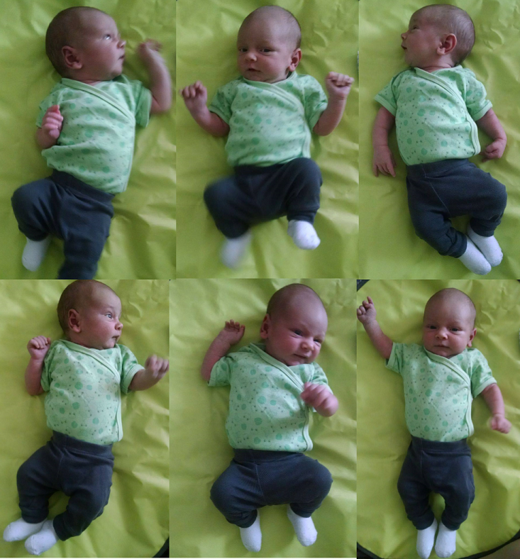Gueni channeling his frog onesie at three-weeks-old.