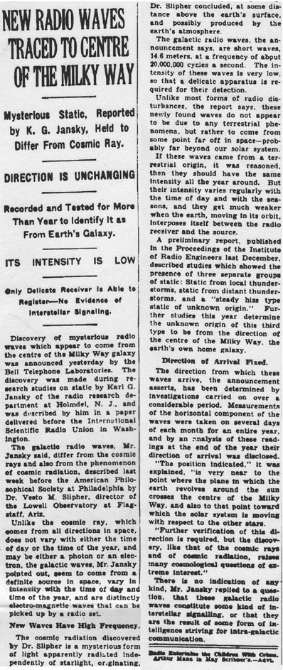 The announcement of Jansky's radio detections published in the  New York Times  on May 5, 1933