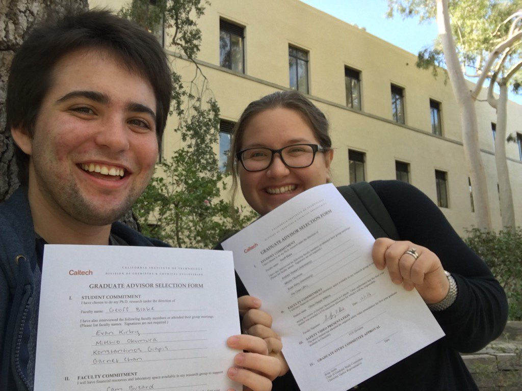 Cam and me, about to turn in our graduate advisor selection forms.