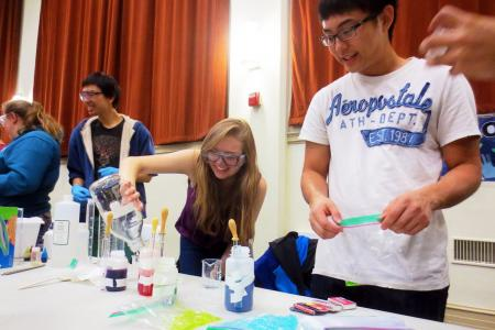 Gerri Roberts and Benzi Estipona create silly putty at Hamilton Elementary (Image from  Caltech Chemistry Club )