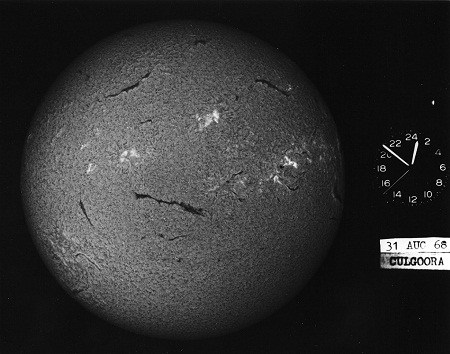 The Sun's disk, or chromosphere, photographed by the CSIRO Solar Observatory telescope. ( CSIRO Archives )