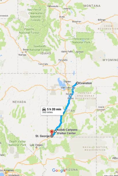 Day 6:Evanston, WY→ St. George, UT - Noteworthy stops:Kolob Canyons, Zion National ParkIceberg Drive Inn, St. George, UT