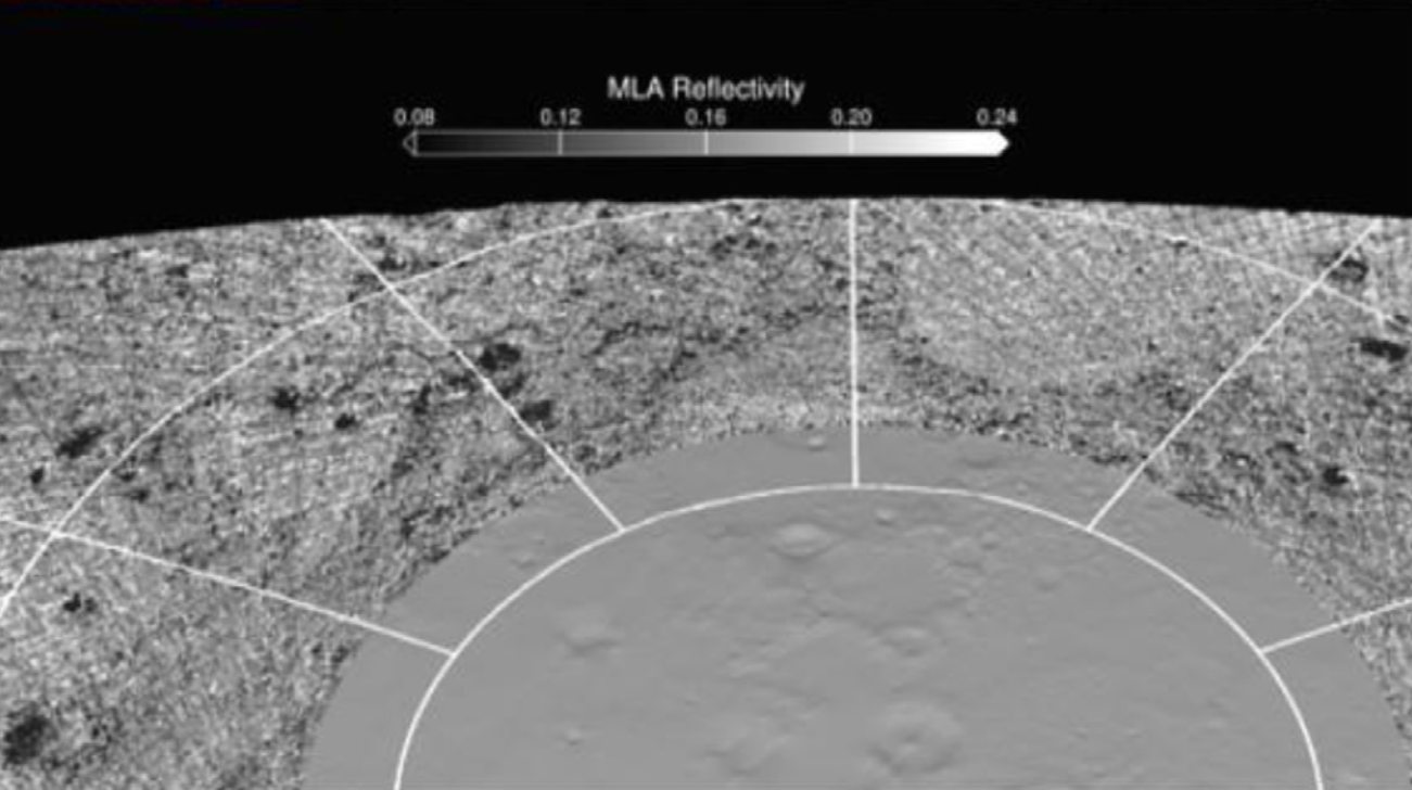 Infrared image showing dark material coating inner craters at high latitudes on Mercury, as seen with the MESSENGER space craft and published by Delitsky et al. (2017).